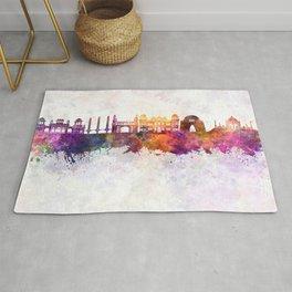 Karachi skyline in watercolor background Rug