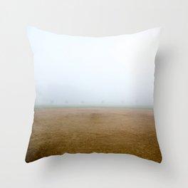 Baseball Field on a Foggy Morning Throw Pillow