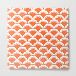 Japanese Fan Pattern 134 Orange Metal Print