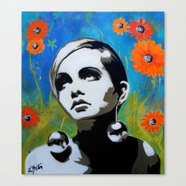 Twiggy with Daisies Canvas Print