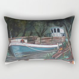 Barco en el muelle Rectangular Pillow