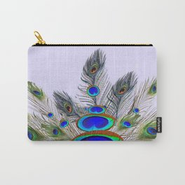 GREEN PEACOCK FEATHER & JEWELS #2 Carry-All Pouch