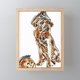 puppy italian mastiff and halloween in front of white background        - Image Framed Mini Art Print
