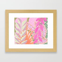 Modern Jungle Plants - Pink Green Purple Framed Art Print