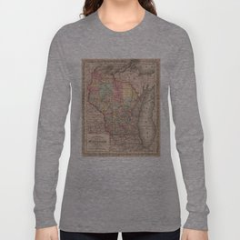 Vintage Map of Wisconsin (1859) Long Sleeve T-shirt
