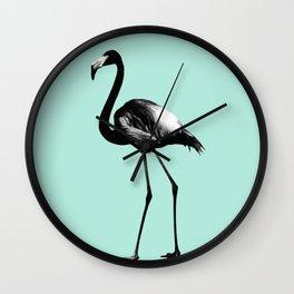 Black Flamingo on Mint #1 #tropical #decor #art #society6 Wall Clock