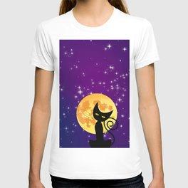 Cat in starry night T-shirt