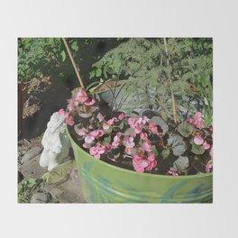 Sun kissed Garden Angel and Begonias Throw Blanket
