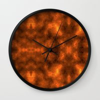gold foil Wall Clocks featuring Gold Foil Texture 6 by Robin Curtiss