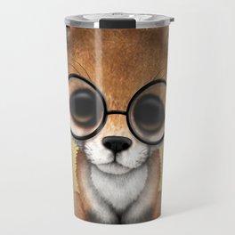 Cute Red Fox Cub Wearing Glasses Travel Mug