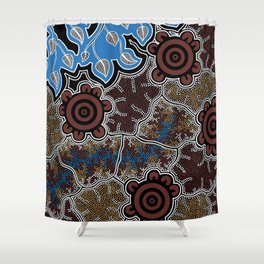 Water Lilly Dreaming - Authentic Aboriginal Art Shower Curtain