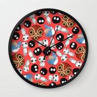 studio ghibli Wall Clocks featuring Ghibli Pattern by pkarnold + The Cult Print Shop