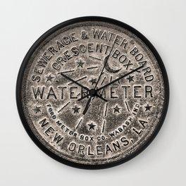 Sepia New Orleans Water Meter Louisiana Crescent City NOLA Water Board Metalwork Wall Clock