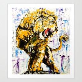 Carmine the Lion Art Print