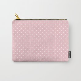 Mini White Polka dots on Pale Millennial Pink Pastel Carry-All Pouch