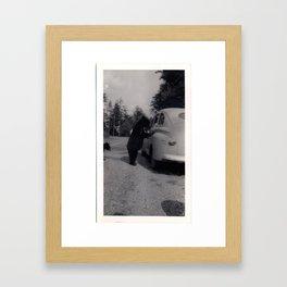 Mr. Bear goes to work Framed Art Print
