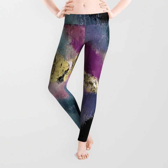 Gemini: a vibrant, colorful abstract piece in gold, purple, blue, black, and white Leggings