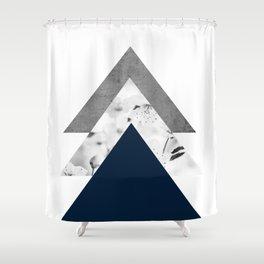 Blue grey monochrome blossom arrows Shower Curtain