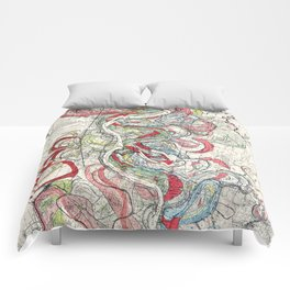 Beautiful Vintage Map of the Mississippi River Comforters