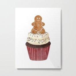 Gingerbread man Cupcake Metal Print