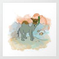SNORKELING CAMEL Art Print