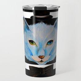 blue cat with hat Travel Mug
