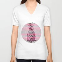 pineapple V-neck T-shirts featuring Pineapple by LebensART
