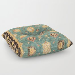 Oushak  Antique Gold Teal Turkish Rug Print Floor Pillow