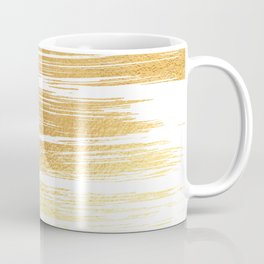 Abstract faux gold white modern paint brushstrokes Coffee Mug