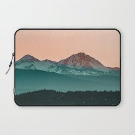 Grainy Sunset Mountain View // Textured Landscape Photograph of the Beautiful Orange and Blue Skies Laptop Sleeve