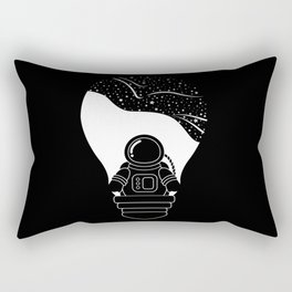 Space Odyssey   Lightbulb   Astronaut   Black and White   Cosmos   Stars   Galaxy   pulp of wood Rectangular Pillow