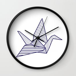 Swan, navy lines Wall Clock