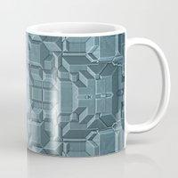 sci fi Mugs featuring Future Sci Fi City by Phil Perkins