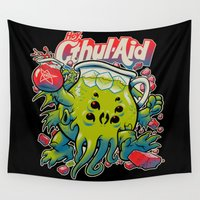 glass Wall Tapestries featuring CTHUL-AID by BeastWreck
