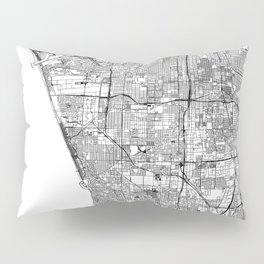 Los Angeles White Map Pillow Sham