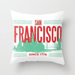 San Francisco skyline - America USA Throw Pillow