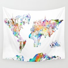 world map landmarks collage Wall Tapestry