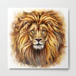 Artistic Lion Face Metal Print