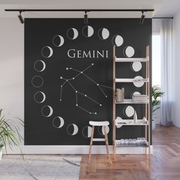 Gemini Zodiac Constellation and Moon Phase Wall Mural