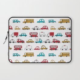 Cars trucks buses city highway transportation illustration cute kids room gifts Laptop Sleeve