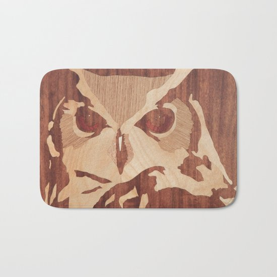 Owl marquetry art picture Bath Mat
