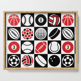 Sport Ball Checkerboard Serving Tray