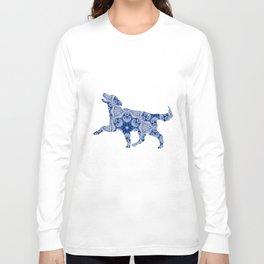 Paisley Dog No. 3 in Blue   Extra Large Long Sleeve T-shirt