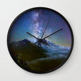 Milky Way Over Mount Rainier Wall Clock
