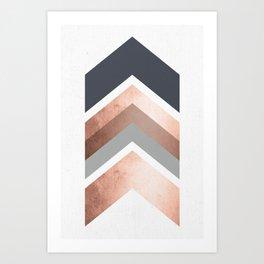 Grey, Bronze Chevron Home Decor Design Art Print