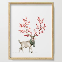 Rudolph the Winterberry Antler'd Reindeer Serving Tray