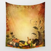 thanksgiving Wall Tapestries featuring Thanksgiving Harvest by FantasyArtDesigns