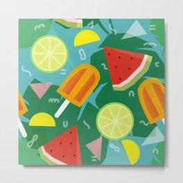 Watermelon, Lemon and Ice Lolly Metal Print