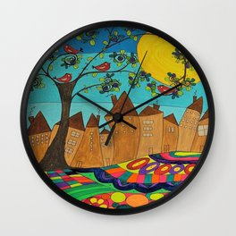 Whimsical Folk Art Landscape Row Houses outsider art Wall Clock