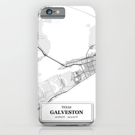 Galveston, Texas City Map with GPS Coordinates iPhone Case
